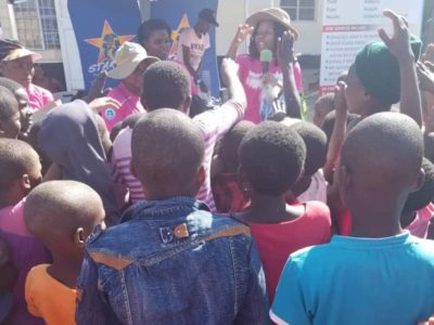 Children eagerly responding to questions on child rights